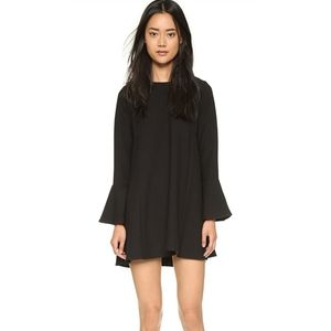 WAYF Black Flutter Bell Sleeve Crepe Mini Dress Sm